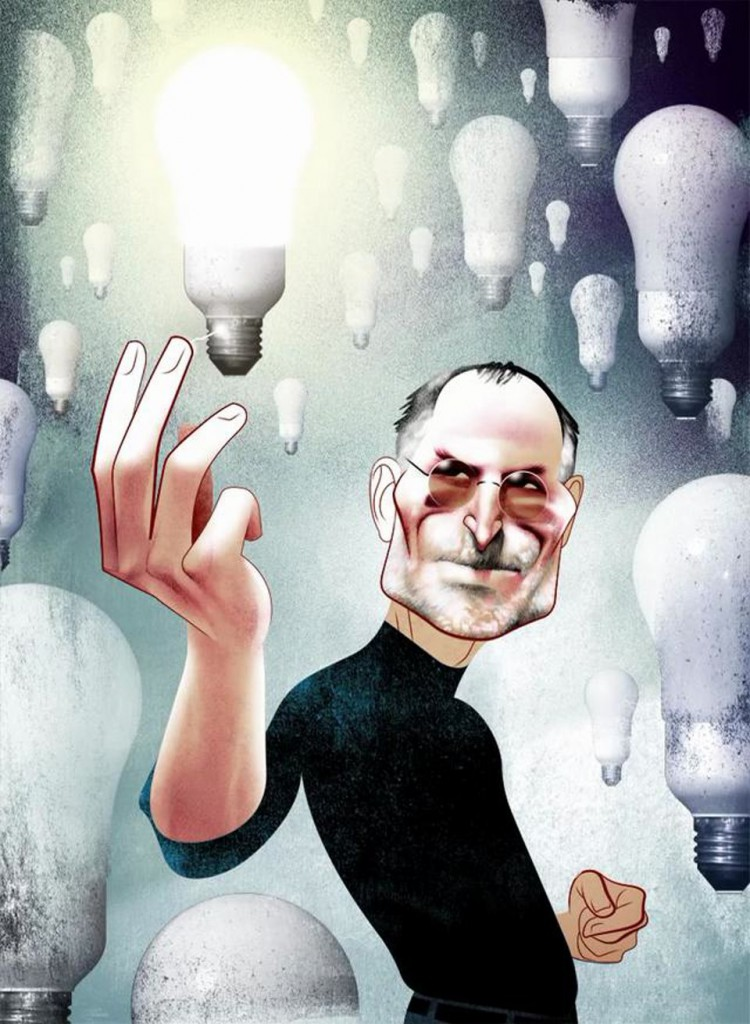 Steve Jobs reaching out to light a bulb by touching it, (by Andre Carrilho)