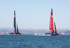 America's Cup Yachts optimising for Velocity Made Good: not straight line speed but toward the next mark.
